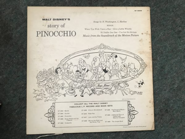 IMG_3511 Walt Disney's Story of Pinocchio 1962 Vinyl Record Album and Storybook 3905